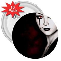 Goth Girl Red Eyes 3  Buttons (10 pack)