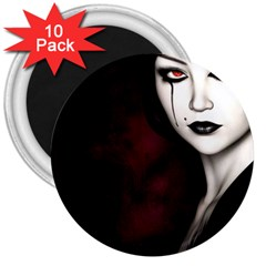 Goth Girl Red Eyes 3  Magnets (10 pack)