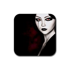 Goth Girl Red Eyes Rubber Square Coaster (4 pack)