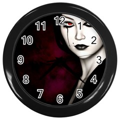 Goth Girl Red Eyes Wall Clocks (Black)