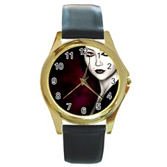 Goth Girl Red Eyes Round Gold Metal Watch