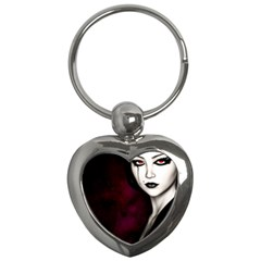Goth Girl Red Eyes Key Chains (Heart)
