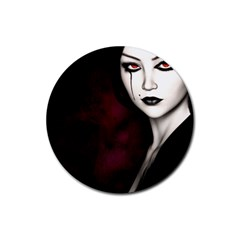 Goth Girl Red Eyes Rubber Round Coaster (4 pack)