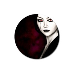 Goth Girl Red Eyes Magnet 3  (Round)