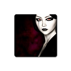 Goth Girl Red Eyes Square Magnet