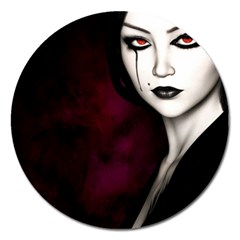Goth Girl Red Eyes Magnet 5  (Round)