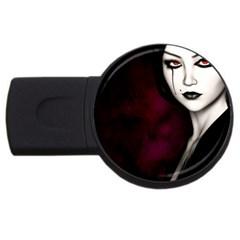 Goth Girl Red Eyes USB Flash Drive Round (2 GB)