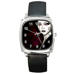 Goth Girl Red Eyes Square Metal Watch