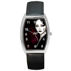 Goth Girl Red Eyes Barrel Style Metal Watch