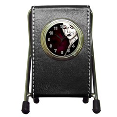 Goth Girl Red Eyes Pen Holder Desk Clocks