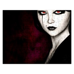 Goth Girl Red Eyes Rectangular Jigsaw Puzzl