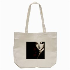 Goth Girl Red Eyes Tote Bag (Cream)