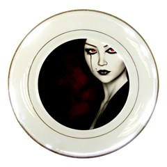 Goth Girl Red Eyes Porcelain Plates