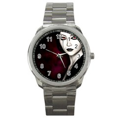 Goth Girl Red Eyes Sport Metal Watch