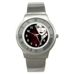 Goth Girl Red Eyes Stainless Steel Watch