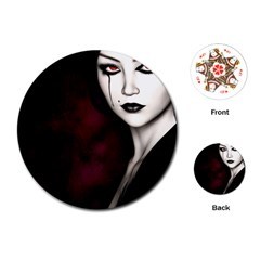 Goth Girl Red Eyes Playing Cards (Round)