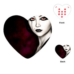 Goth Girl Red Eyes Playing Cards (Heart)