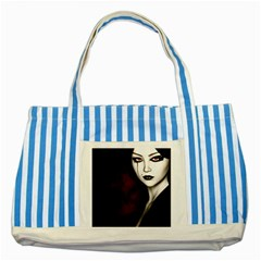 Goth Girl Red Eyes Striped Blue Tote Bag