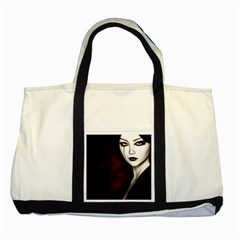 Goth Girl Red Eyes Two Tone Tote Bag