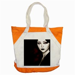Goth Girl Red Eyes Accent Tote Bag