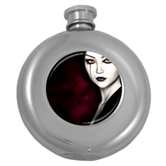 Goth Girl Red Eyes Round Hip Flask (5 oz)