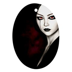 Goth Girl Red Eyes Oval Ornament (Two Sides)