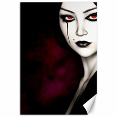 Goth Girl Red Eyes Canvas 12  x 18