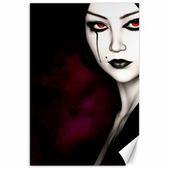 Goth Girl Red Eyes Canvas 24  x 36