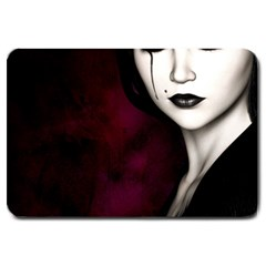 Goth Girl Red Eyes Large Doormat