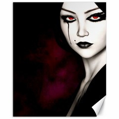 Goth Girl Red Eyes Canvas 11  x 14