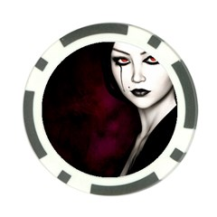 Goth Girl Red Eyes Poker Chip Card Guard