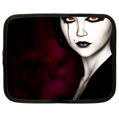 Goth Girl Red Eyes Netbook Case (Large)
