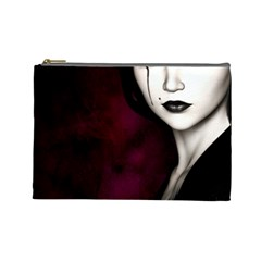 Goth Girl Red Eyes Cosmetic Bag (Large)
