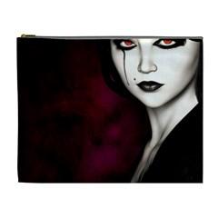 Goth Girl Red Eyes Cosmetic Bag (XL)