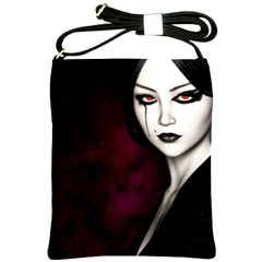 Goth Girl Red Eyes Shoulder Sling Bags