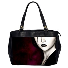 Goth Girl Red Eyes Office Handbags (2 Sides)