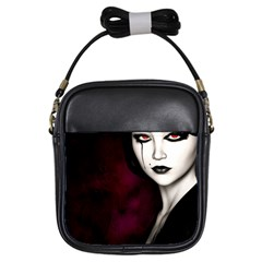 Goth Girl Red Eyes Girls Sling Bags