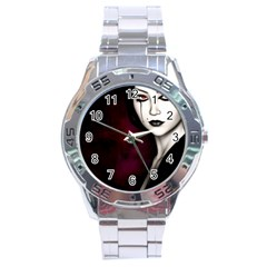 Goth Girl Red Eyes Stainless Steel Analogue Watch