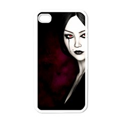 Goth Girl Red Eyes Apple iPhone 4 Case (White)