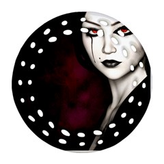 Goth Girl Red Eyes Ornament (Round Filigree)
