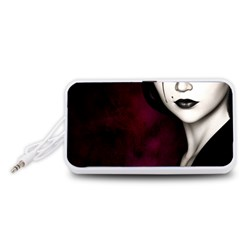 Goth Girl Red Eyes Portable Speaker (White)