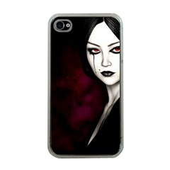 Goth Girl Red Eyes Apple iPhone 4 Case (Clear)