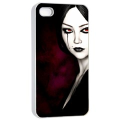 Goth Girl Red Eyes Apple iPhone 4/4s Seamless Case (White)