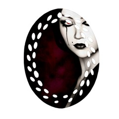 Goth Girl Red Eyes Ornament (Oval Filigree)