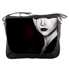 Goth Girl Red Eyes Messenger Bags