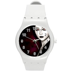 Goth Girl Red Eyes Round Plastic Sport Watch (M)