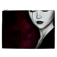 Goth Girl Red Eyes Cosmetic Bag (XXL)