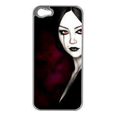 Goth Girl Red Eyes Apple iPhone 5 Case (Silver)