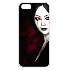 Goth Girl Red Eyes Apple iPhone 5 Seamless Case (White)