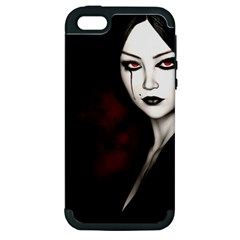 Goth Girl Red Eyes Apple iPhone 5 Hardshell Case (PC+Silicone)
